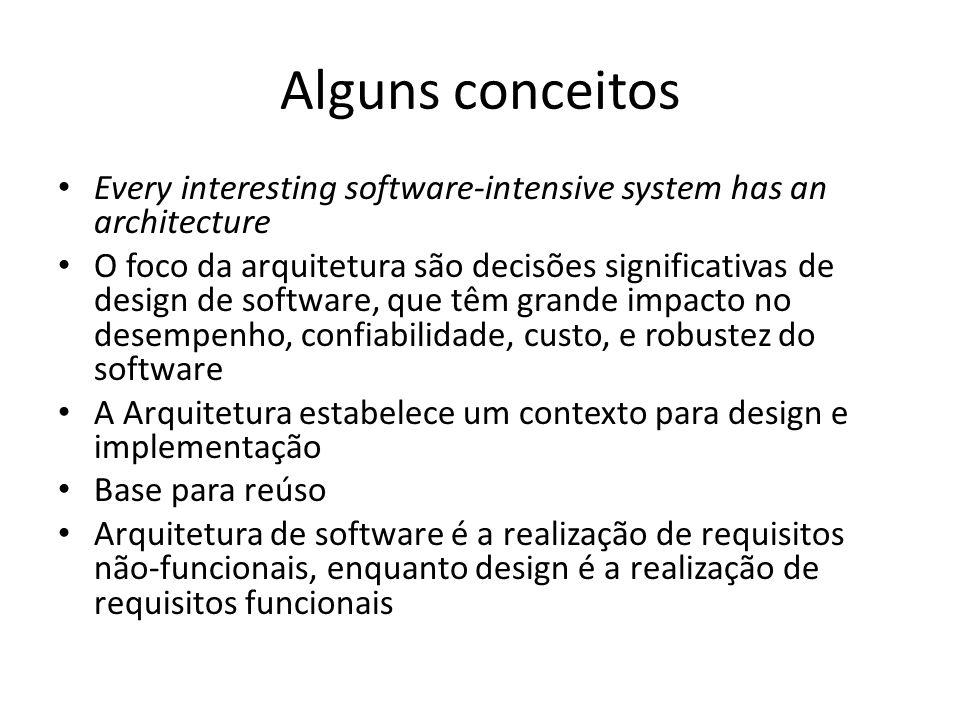 Alguns conceitos Every interesting software-intensive system has an architecture O foco da arquitetura são decisões significativas de design de softwa