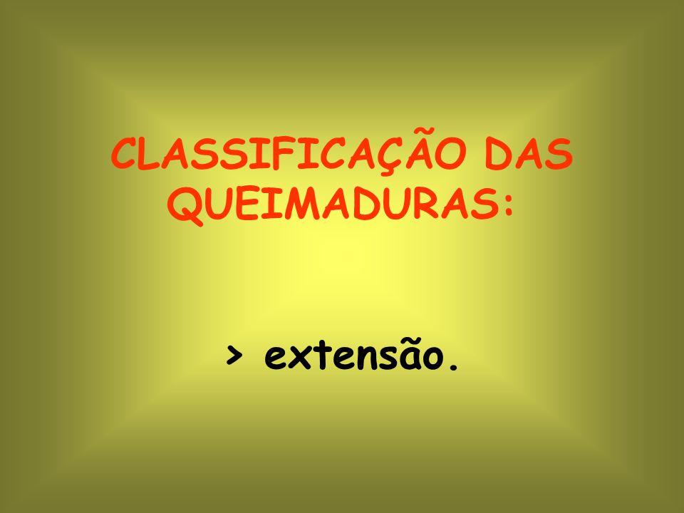 CLASSIFICAÇÃO DAS QUEIMADURAS: > extensão.