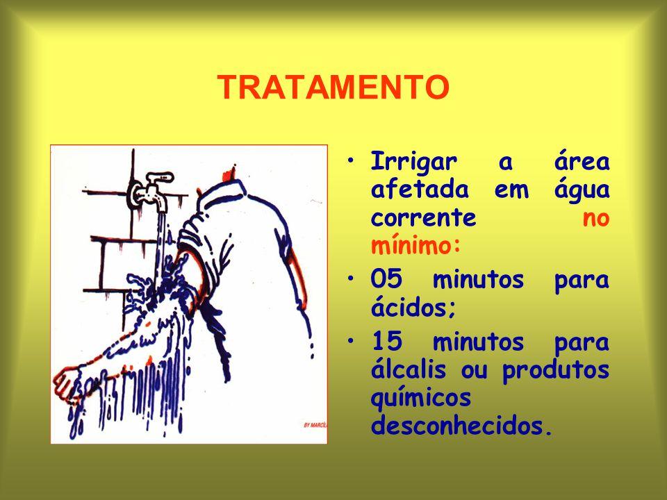 TRATAMENTO Irrigar a área afetada em água corrente no mínimo: 05 minutos para ácidos; 15 minutos para álcalis ou produtos químicos desconhecidos.