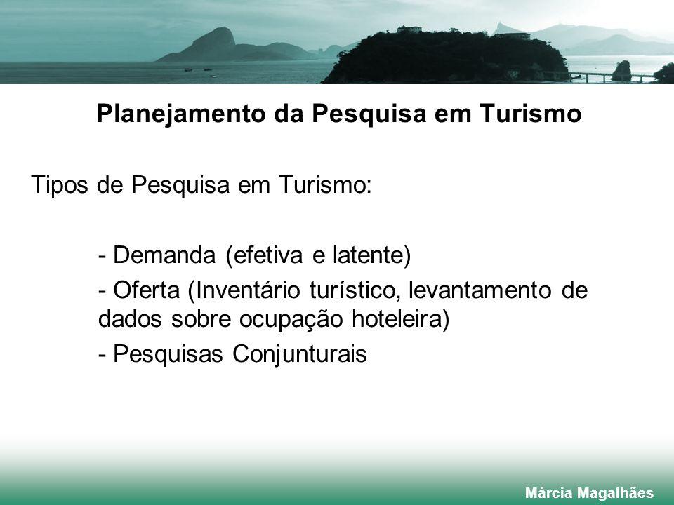 Planejamento da Pesquisa em Turismo Tipos de Pesquisa em Turismo: - Demanda (efetiva e latente) - Oferta (Inventário turístico, levantamento de dados sobre ocupação hoteleira) - Pesquisas Conjunturais Márcia Magalhães