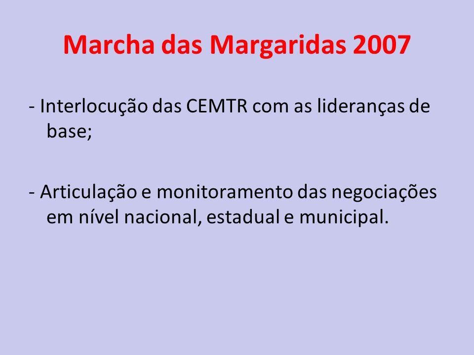Marcha das Margaridas 2007 - Interlocução das CEMTR com as lideranças de base; - Articulação e monitoramento das negociações em nível nacional, estadual e municipal.