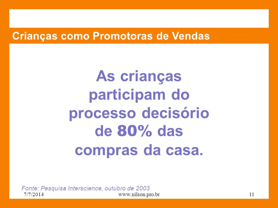 Crianças como Promotoras de Vendas As crianças participam do processo decisório de 80% das compras da casa.