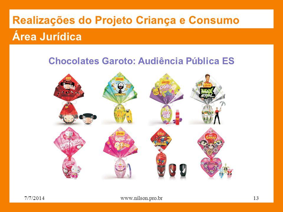 Área Jurídica Realizações do Projeto Criança e Consumo Chocolates Garoto: Audiência Pública ES 7/7/201413www.nilson.pro.br