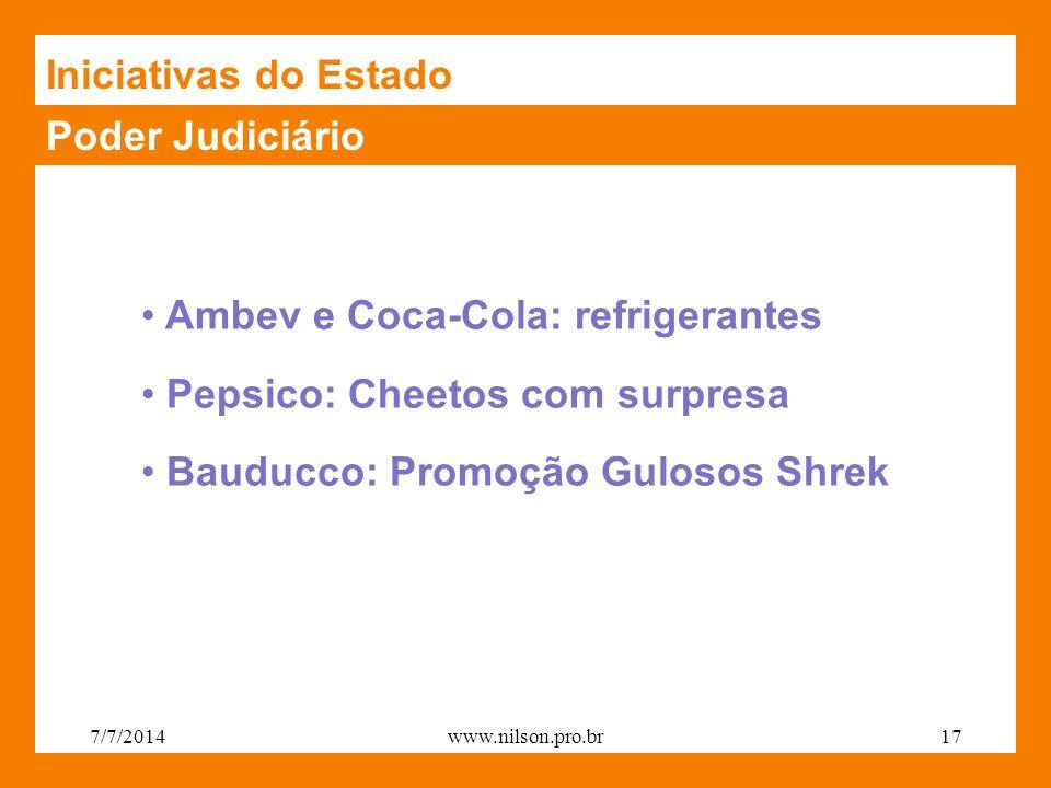 Poder Judiciário Ambev e Coca-Cola: refrigerantes Pepsico: Cheetos com surpresa Bauducco: Promoção Gulosos Shrek Iniciativas do Estado 7/7/201417www.nilson.pro.br