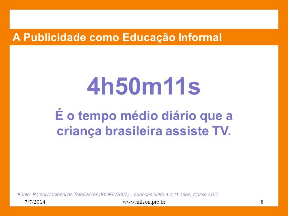 A Publicidade como Educação Informal 4h50m11s É o tempo médio diário que a criança brasileira assiste TV. Fonte: Painel Nacional de Televisores (IBOPE