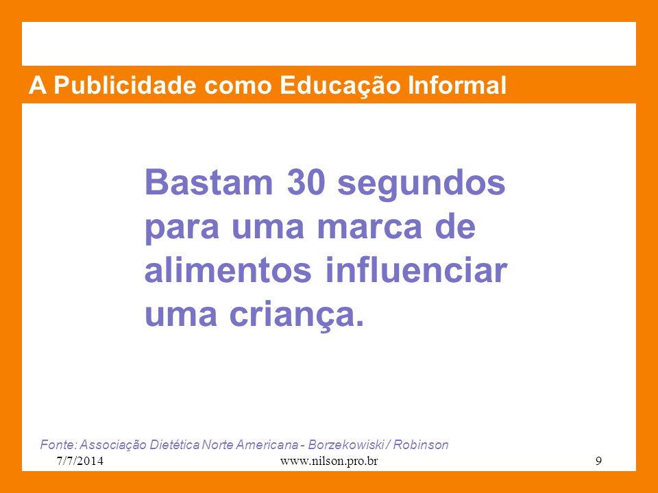 A Publicidade como Educação Informal Bastam 30 segundos para uma marca de alimentos influenciar uma criança. Fonte: Associação Dietética Norte America