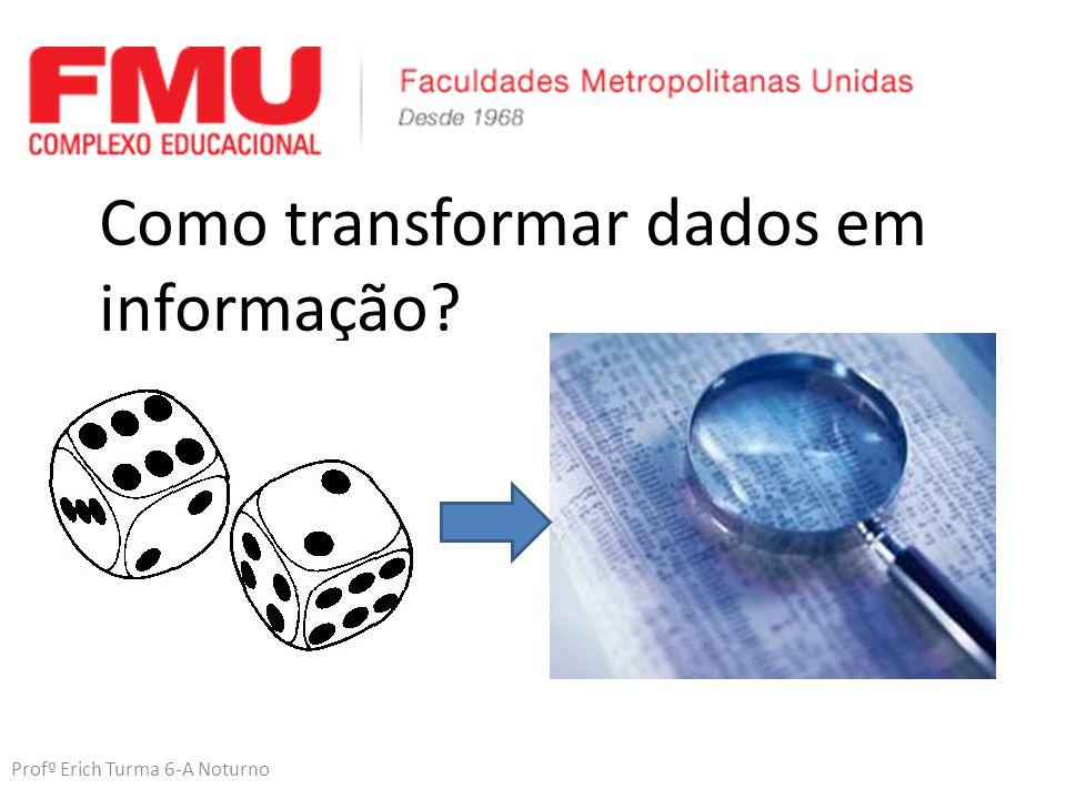 Profº Erich Turma 6-A Noturno Como transformar dados em informação?