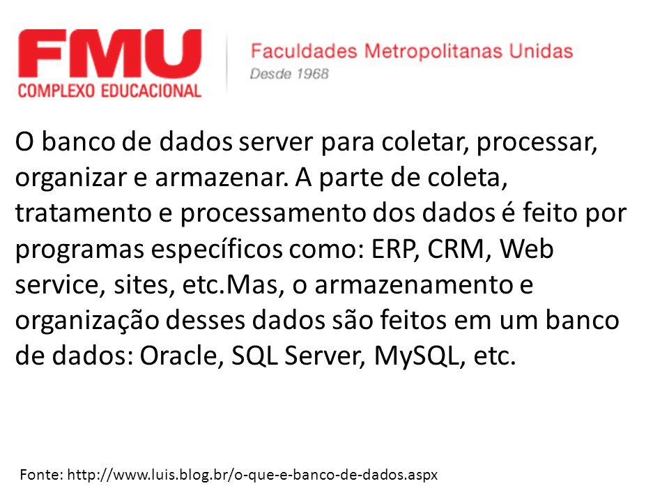 O banco de dados server para coletar, processar, organizar e armazenar.