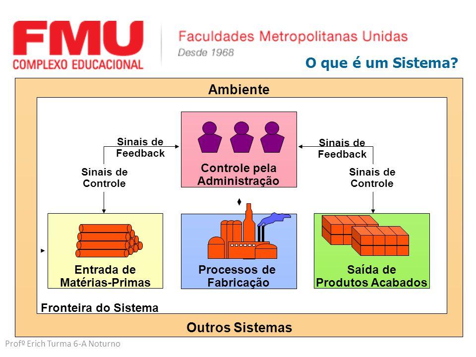Profº Erich Turma 6-A Noturno O que é um Sistema? Processos de Fabricação Entrada de Matérias-Primas Saída de Produtos Acabados Ambiente Outros Sistem