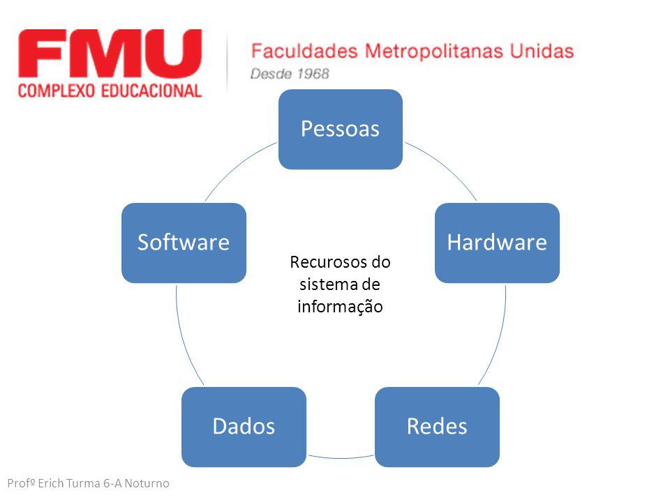 Profº Erich Turma 6-A Noturno PessoasHardwareRedesDadosSoftware Recurosos do sistema de informação