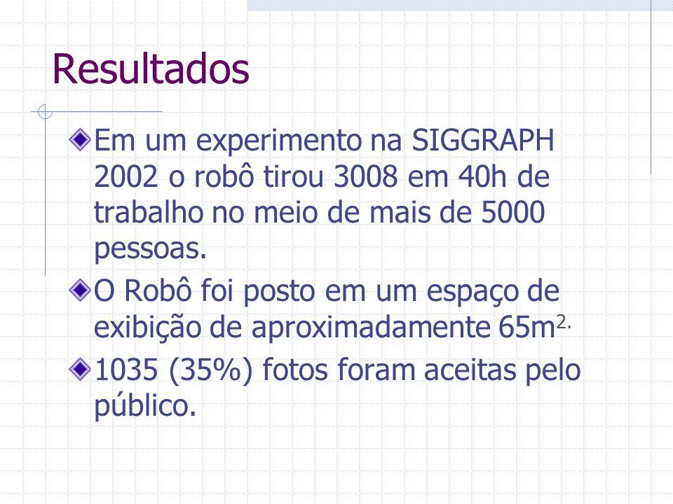 Resultados Em um experimento na SIGGRAPH 2002 o robô tirou 3008 em 40h de trabalho no meio de mais de 5000 pessoas. O Robô foi posto em um espaço de e