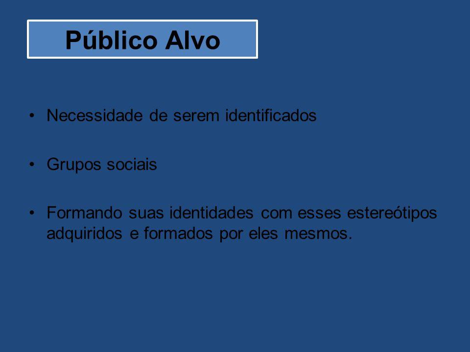 Necessidade de serem identificados Grupos sociais Formando suas identidades com esses estereótipos adquiridos e formados por eles mesmos. Público Alvo