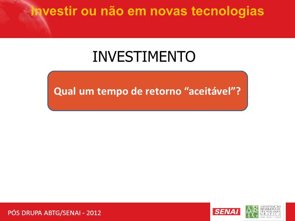 """PÓS DRUPA ABTG/SENAI - 2012 Investir ou não em novas tecnologias INVESTIMENTO Qual um tempo de retorno """"aceitável""""?"""