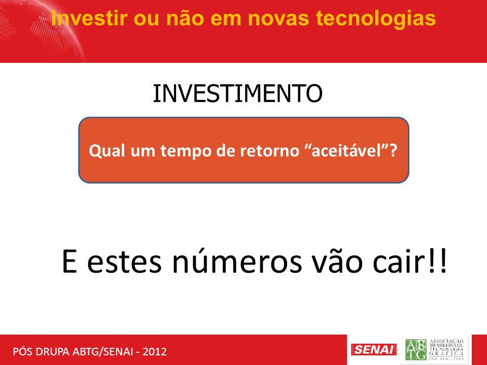 """PÓS DRUPA ABTG/SENAI - 2012 Investir ou não em novas tecnologias INVESTIMENTO Qual um tempo de retorno """"aceitável""""? E estes números vão cair!!"""