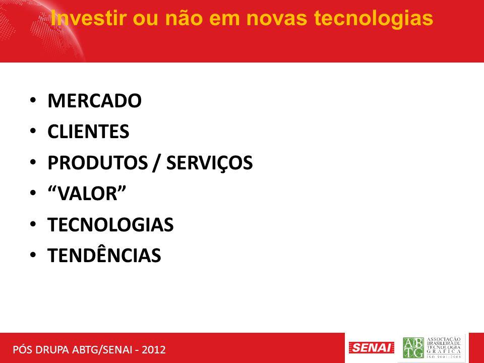 """PÓS DRUPA ABTG/SENAI - 2012 Investir ou não em novas tecnologias MERCADO CLIENTES PRODUTOS / SERVIÇOS """"VALOR"""" TECNOLOGIAS TENDÊNCIAS"""