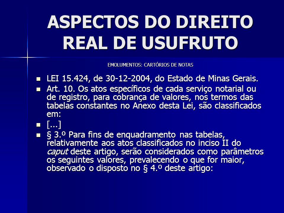 ASPECTOS DO DIREITO REAL DE USUFRUTO EMOLUMENTOS: CARTÓRIOS DE NOTAS LEI 15.424, de 30-12-2004, do Estado de Minas Gerais. LEI 15.424, de 30-12-2004,