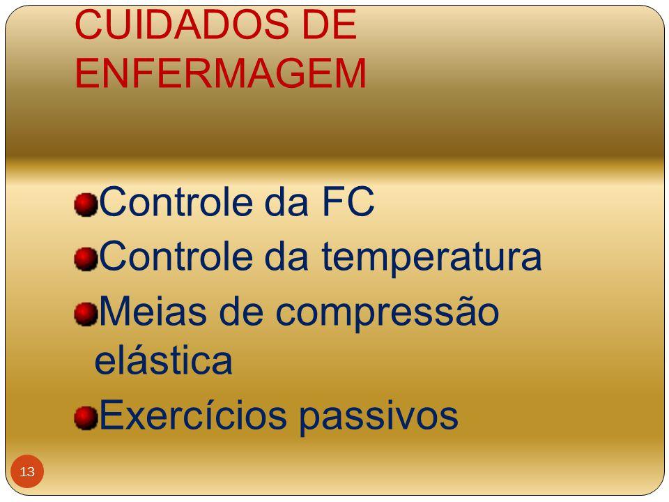 CUIDADOS DE ENFERMAGEM Controle da FC Controle da temperatura Meias de compressão elástica Exercícios passivos 13