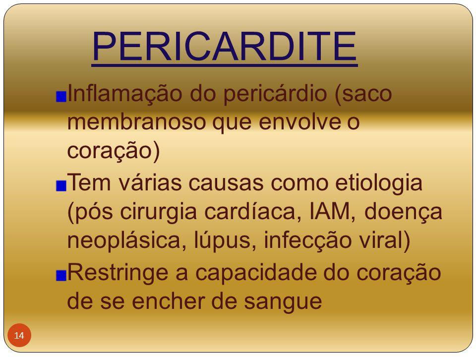 PERICARDITE Inflamação do pericárdio (saco membranoso que envolve o coração) Tem várias causas como etiologia (pós cirurgia cardíaca, IAM, doença neop