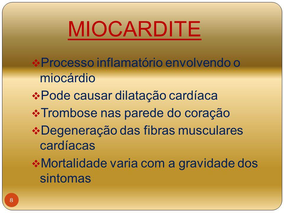 MIOCARDITE  Processo inflamatório envolvendo o miocárdio  Pode causar dilatação cardíaca  Trombose nas parede do coração  Degeneração das fibras m