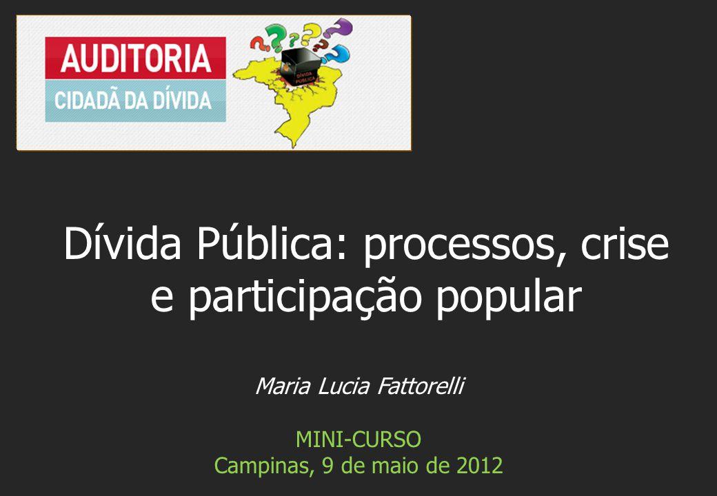 Maria Lucia Fattorelli MINI-CURSO Campinas, 9 de maio de 2012 Dívida Pública: processos, crise e participação popular