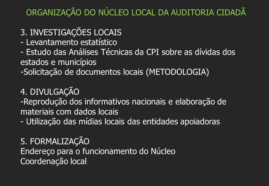 ORGANIZAÇÃO DO NÚCLEO LOCAL DA AUDITORIA CIDADÃ 3. INVESTIGAÇÕES LOCAIS - Levantamento estatístico - Estudo das Análises Técnicas da CPI sobre as dívi
