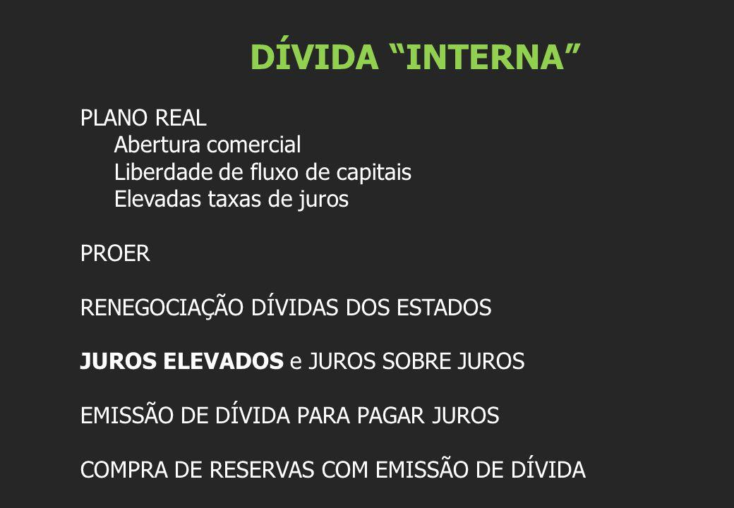 """DÍVIDA """"INTERNA"""" PLANO REAL Abertura comercial Liberdade de fluxo de capitais Elevadas taxas de juros PROER RENEGOCIAÇÃO DÍVIDAS DOS ESTADOS JUROS ELE"""