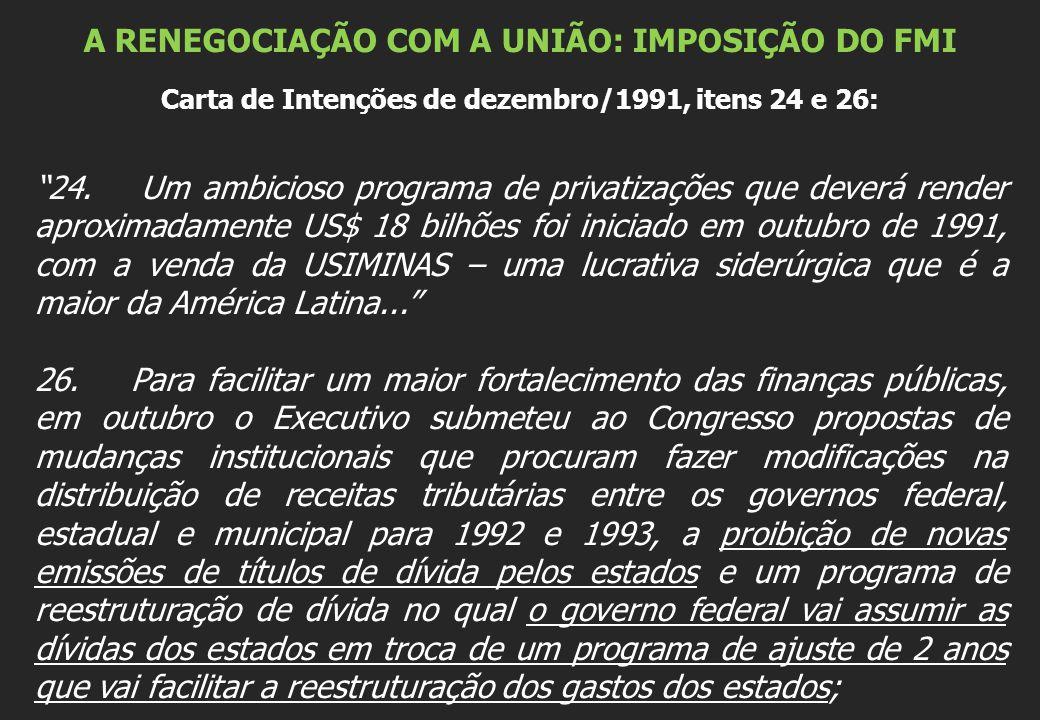 """A RENEGOCIAÇÃO COM A UNIÃO: IMPOSIÇÃO DO FMI Carta de Intenções de dezembro/1991, itens 24 e 26: """"24. Um ambicioso programa de privatizações que dever"""