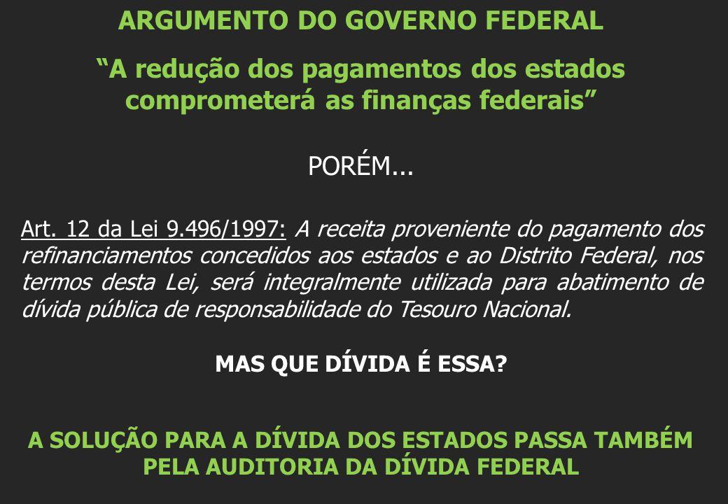 """ARGUMENTO DO GOVERNO FEDERAL """"A redução dos pagamentos dos estados comprometerá as finanças federais"""" PORÉM... Art. 12 da Lei 9.496/1997: A receita pr"""