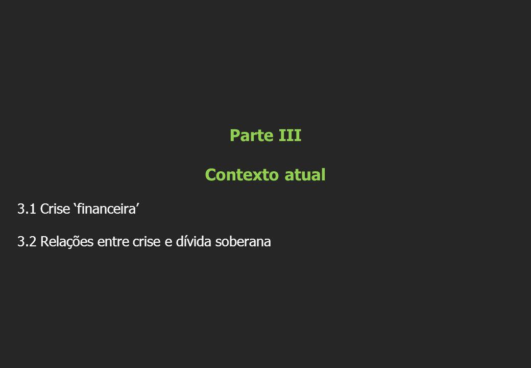 Parte III Contexto atual 3.1 Crise 'financeira' 3.2 Relações entre crise e dívida soberana