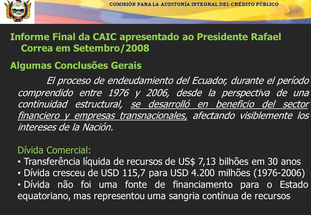 COMISIÓN PARA LA AUDITORÍA INTEGRAL DEL CRÉDITO PÚBLICO Informe Final da CAIC apresentado ao Presidente Rafael Correa em Setembro/2008 Algumas Conclus