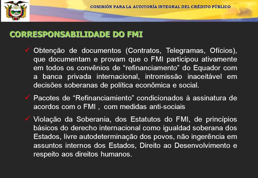 COMISIÓN PARA LA AUDITORÍA INTEGRAL DEL CRÉDITO PÚBLICO CORRESPONSABILIDADE DO FMI Obtenção de documentos (Contratos, Telegramas, Ofícios), que docume