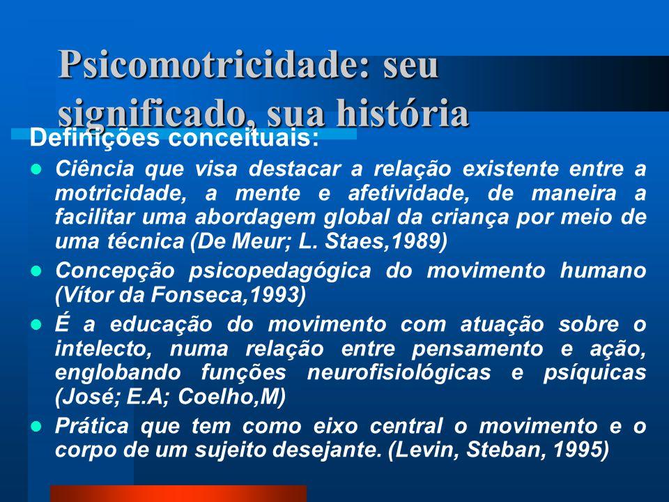 Psicomotricidade: seu significado, sua história Definições conceituais: Ciência que visa destacar a relação existente entre a motricidade, a mente e a