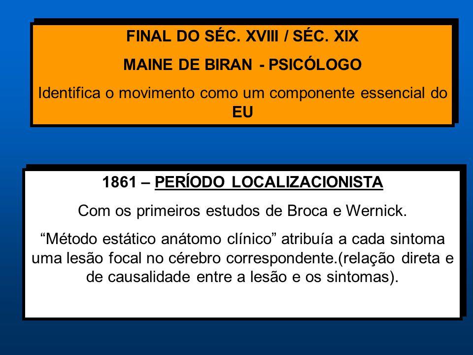FINAL DO SÉC. XVIII / SÉC. XIX MAINE DE BIRAN - PSICÓLOGO Identifica o movimento como um componente essencial do EU FINAL DO SÉC. XVIII / SÉC. XIX MAI