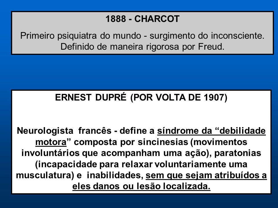 1888 - CHARCOT Primeiro psiquiatra do mundo - surgimento do inconsciente. Definido de maneira rigorosa por Freud. ERNEST DUPRÉ (POR VOLTA DE 1907) Neu