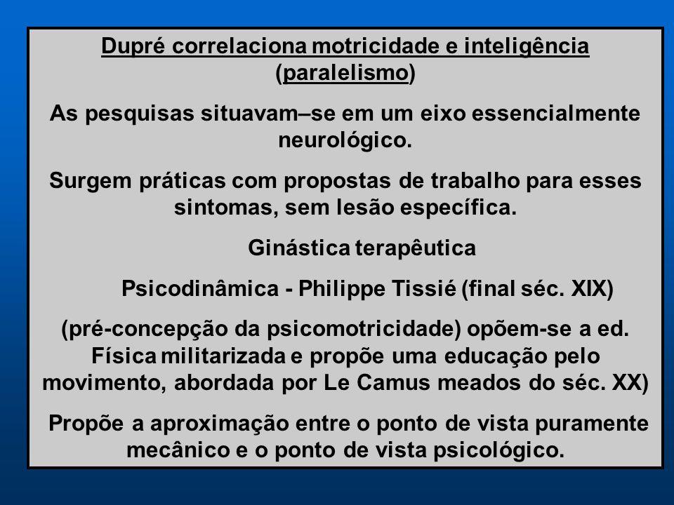 Dupré correlaciona motricidade e inteligência (paralelismo) As pesquisas situavam–se em um eixo essencialmente neurológico. Surgem práticas com propos