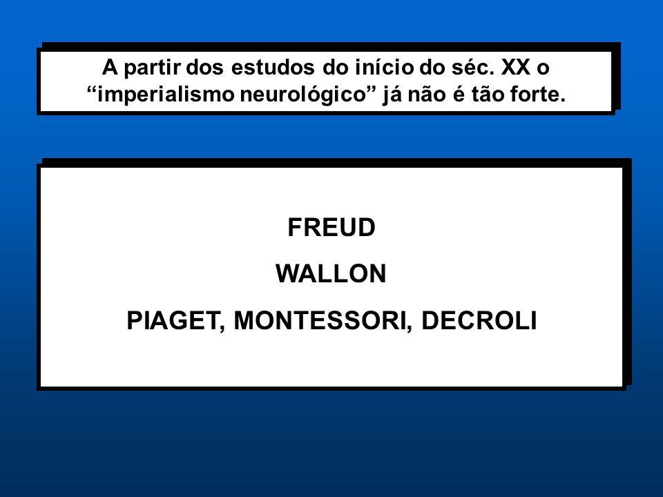 """A partir dos estudos do início do séc. XX o """"imperialismo neurológico"""" já não é tão forte. FREUD WALLON PIAGET, MONTESSORI, DECROLI FREUD WALLON PIAGE"""