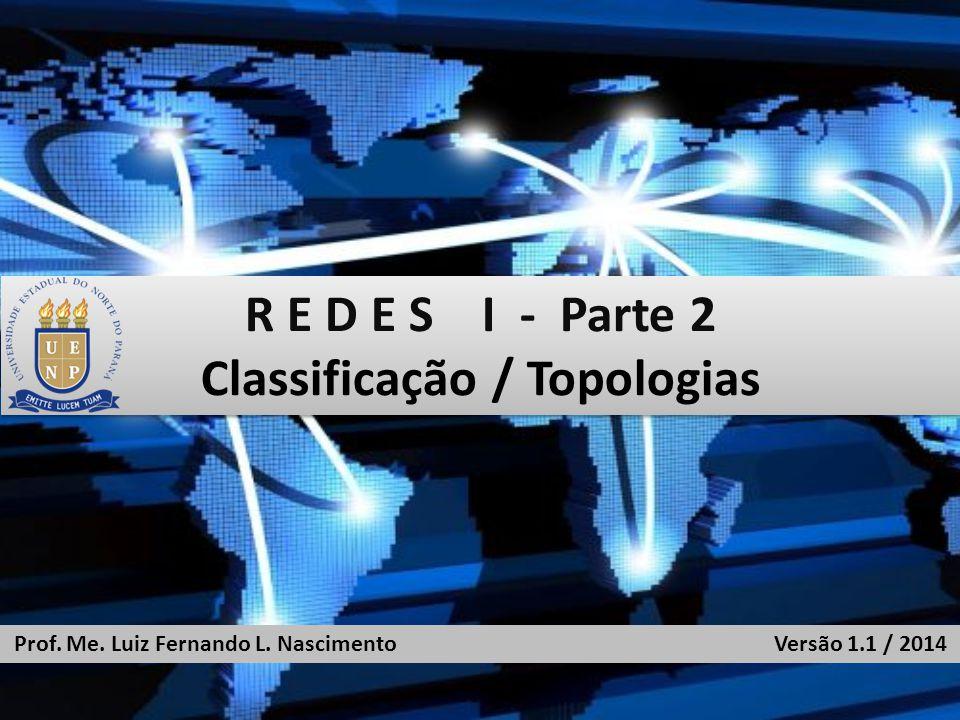 R E D E S I - Parte 2 Classificação / Topologias R E D E S I - Parte 2 Classificação / Topologias Prof.