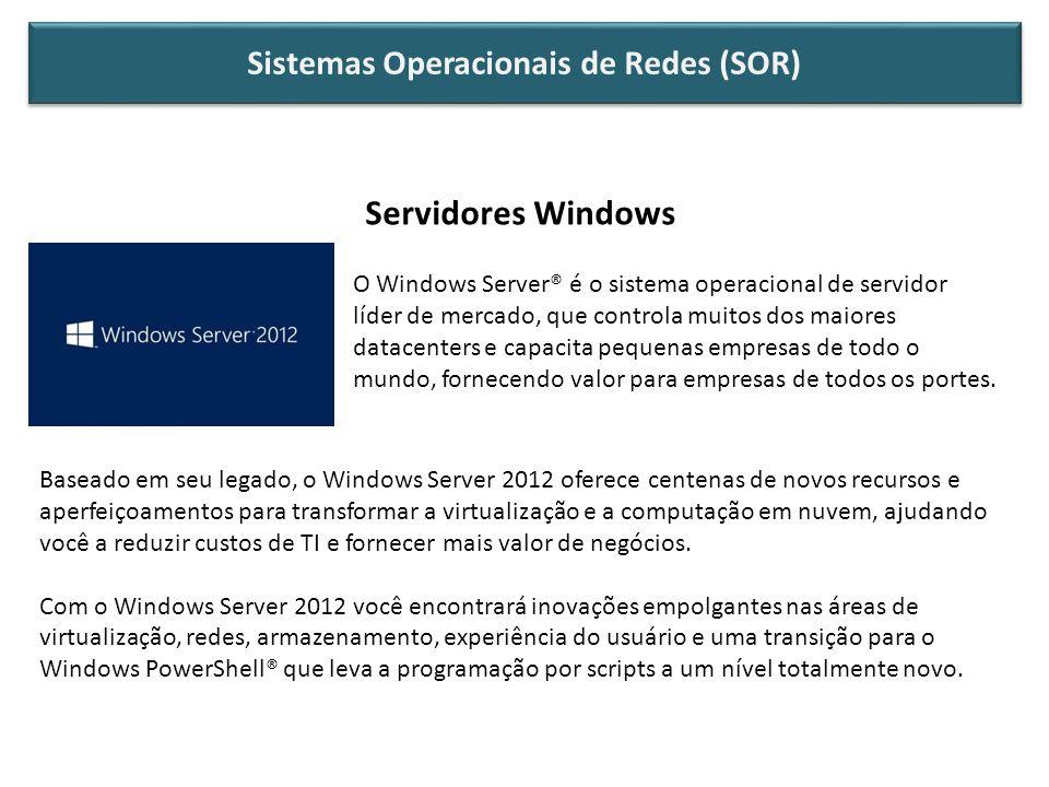 Servidores Windows O Windows Server® é o sistema operacional de servidor líder de mercado, que controla muitos dos maiores datacenters e capacita pequenas empresas de todo o mundo, fornecendo valor para empresas de todos os portes.