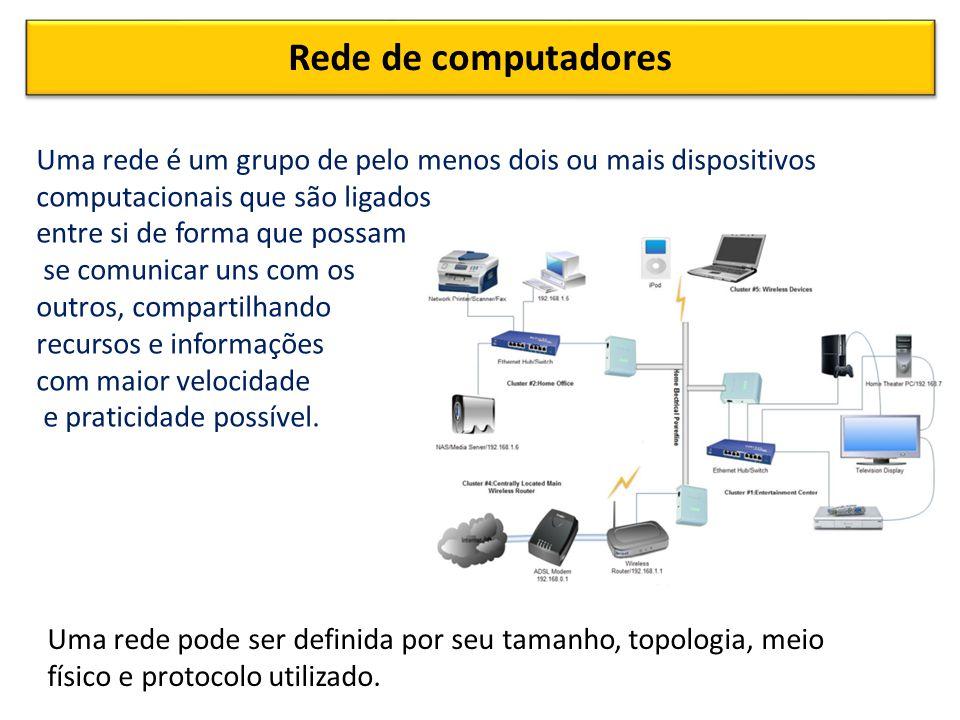 Rede de computadores Uma rede é um grupo de pelo menos dois ou mais dispositivos computacionais que são ligados entre si de forma que possam se comunicar uns com os outros, compartilhando recursos e informações com maior velocidade e praticidade possível.