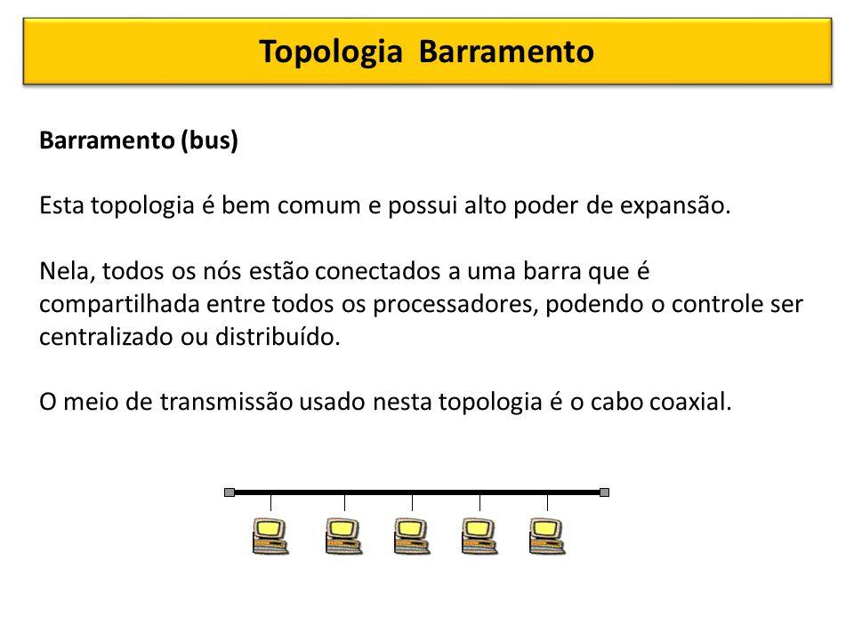 Topologia Barramento Barramento (bus) Esta topologia é bem comum e possui alto poder de expansão.