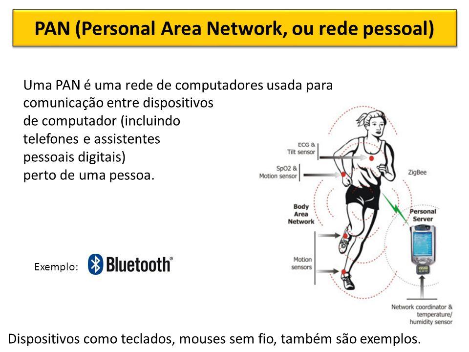 PAN (Personal Area Network, ou rede pessoal) Uma PAN é uma rede de computadores usada para comunicação entre dispositivos de computador (incluindo telefones e assistentes pessoais digitais) perto de uma pessoa.