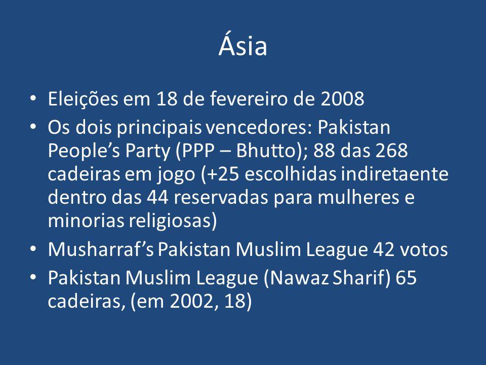 Ásia Eleições em 18 de fevereiro de 2008 Os dois principais vencedores: Pakistan People's Party (PPP – Bhutto); 88 das 268 cadeiras em jogo (+25 escol
