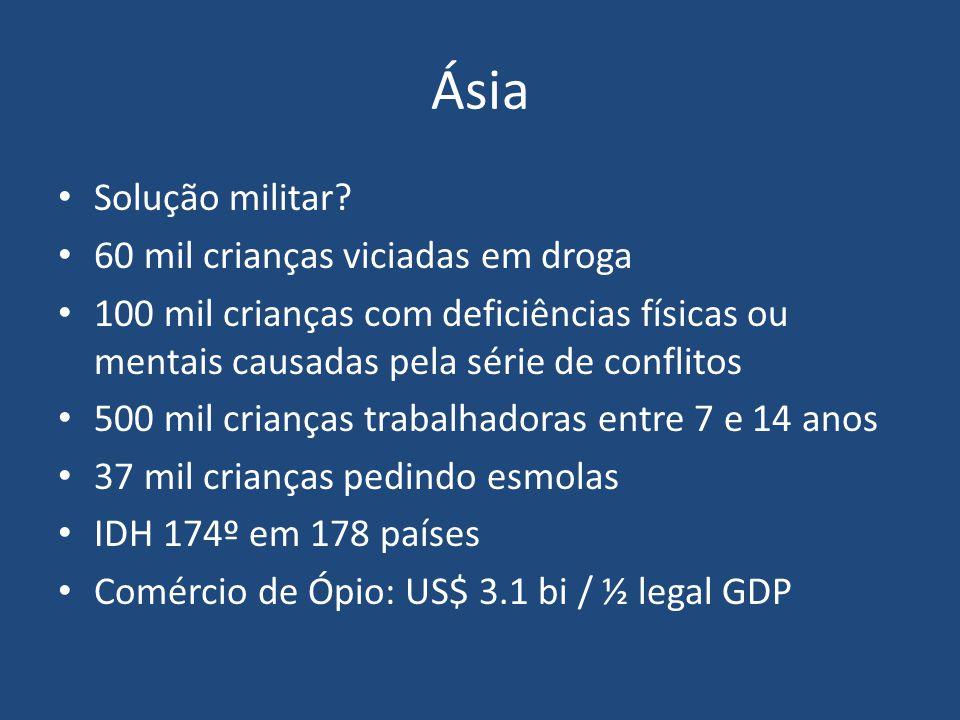 Ásia Solução militar? 60 mil crianças viciadas em droga 100 mil crianças com deficiências físicas ou mentais causadas pela série de conflitos 500 mil