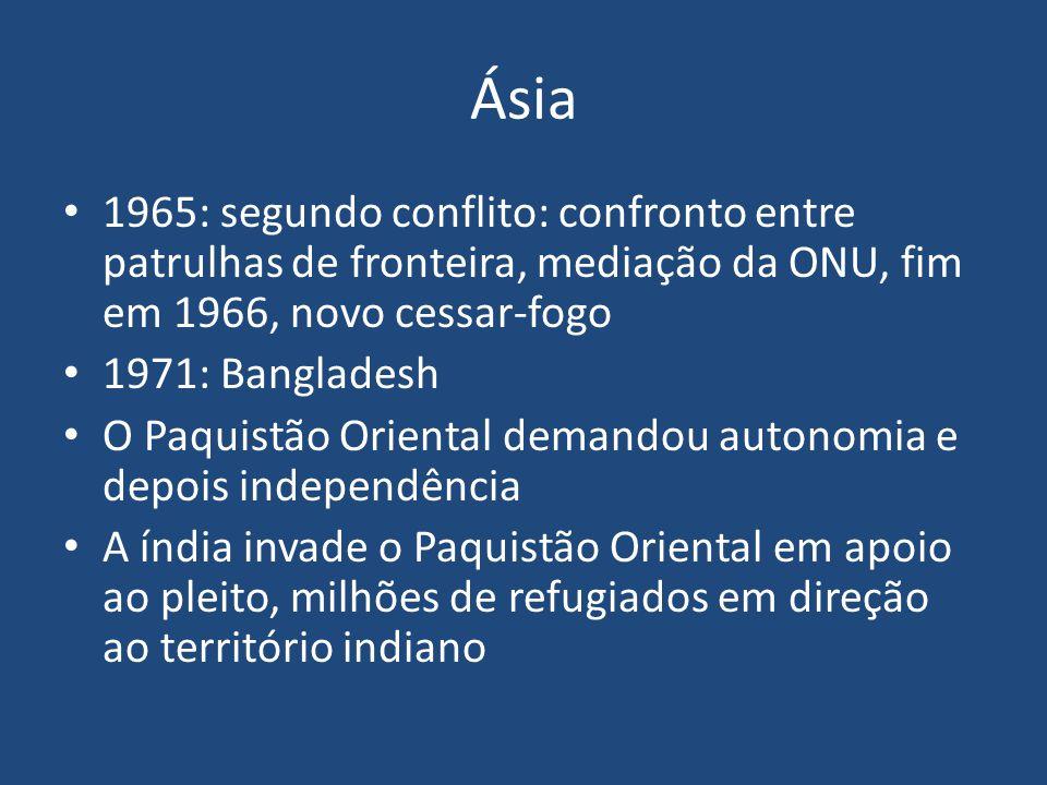 Ásia 1989: insurgência na Caxemira Independência x união ao Paquistão India acusa Paquistão de prover os militantes com armas 1996-7: negociações, encontro na Linha de Controle, que divide o estado de Jammu e Caxemira; 50 anos da independência em relação aos britânicos