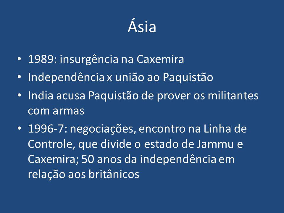 Ásia 1989: insurgência na Caxemira Independência x união ao Paquistão India acusa Paquistão de prover os militantes com armas 1996-7: negociações, enc