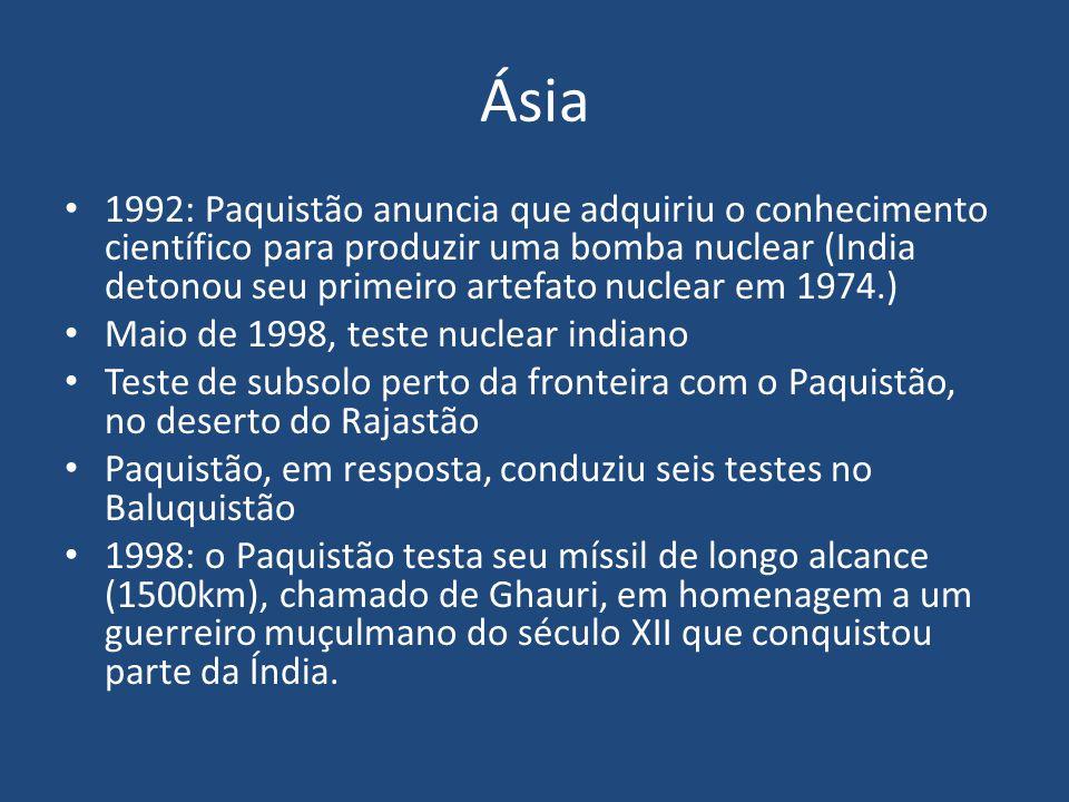 Ásia 1992: Paquistão anuncia que adquiriu o conhecimento científico para produzir uma bomba nuclear (India detonou seu primeiro artefato nuclear em 19