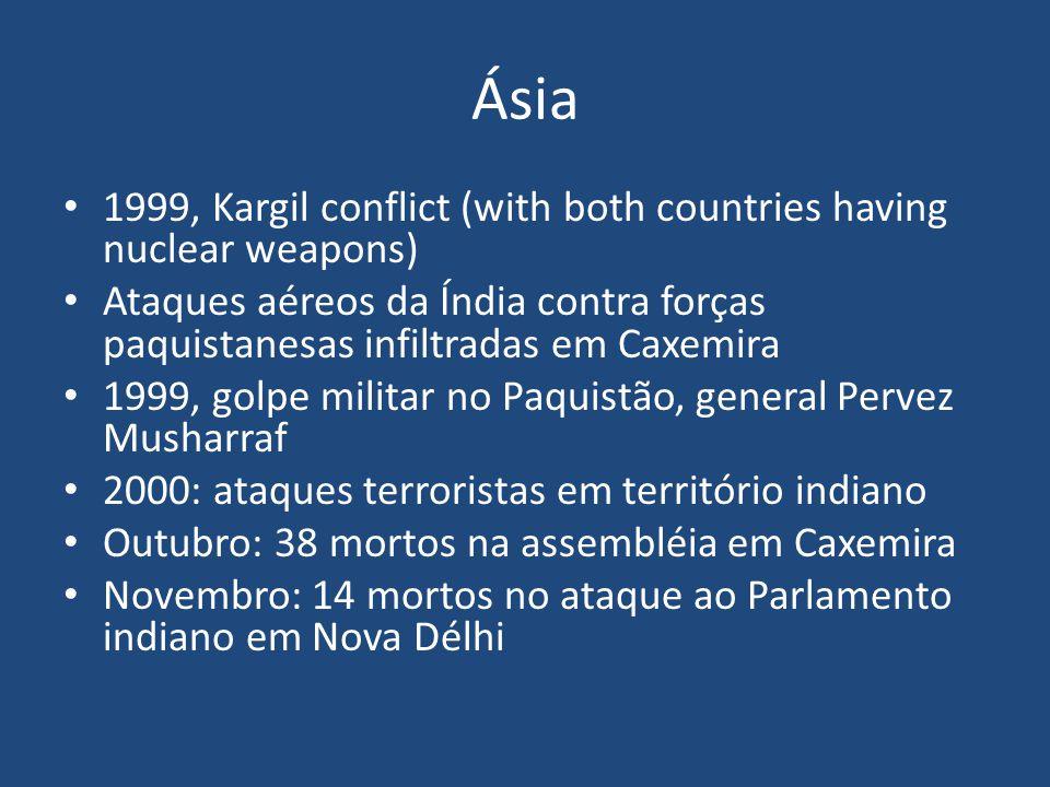 Ásia Paquistão: armas nucleares, maioria islâmica, papel fundamental na guerra contra o terrorismo Instabilidade Pressão sobre Musharraf: judiciário independente (mais tarde fechado pelo próprio Musharraf, em 2007); conflitos tribais (movimentos islâmicos); Estados Unidos, preocupação com a militância islâmica.