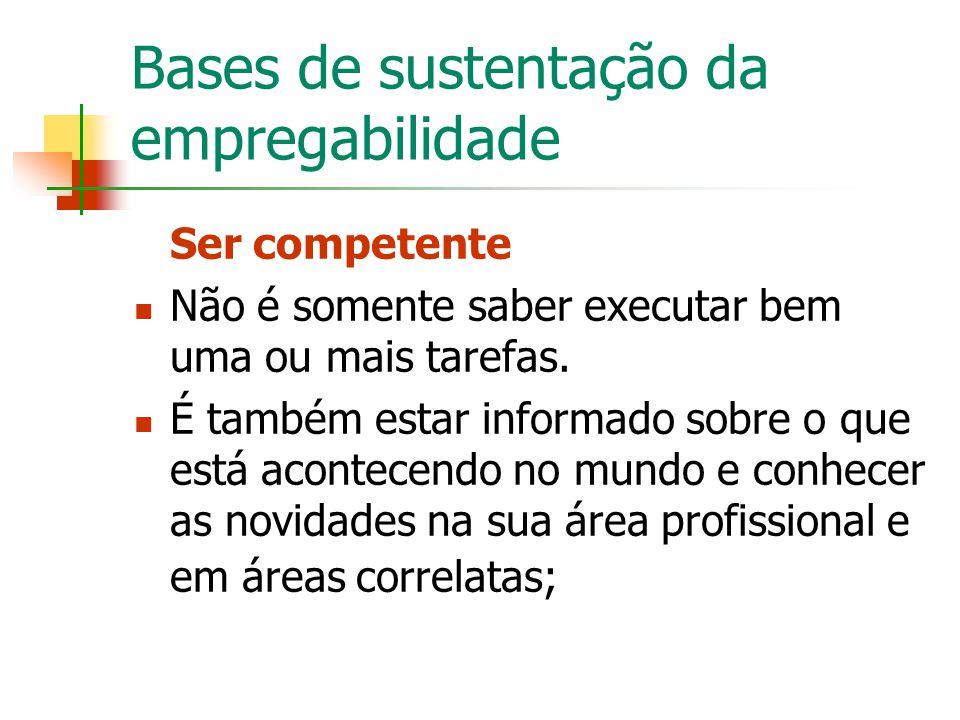 Bases de sustentação da empregabilidade Ser competente Não é somente saber executar bem uma ou mais tarefas. É também estar informado sobre o que está