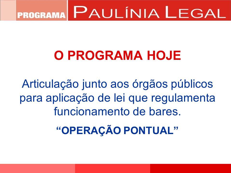 """O PROGRAMA HOJE Articulação junto aos órgãos públicos para aplicação de lei que regulamenta funcionamento de bares. """"OPERAÇÃO PONTUAL"""""""