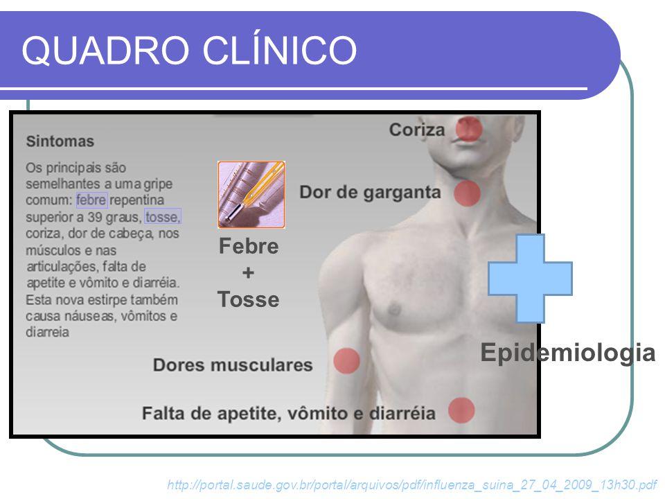 QUADRO CLÍNICO Epidemiologia http://portal.saude.gov.br/portal/arquivos/pdf/influenza_suina_27_04_2009_13h30.pdf Febre + Tosse